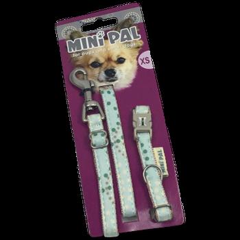 leuke fleurige looplijn en halsband van Mini Pal. Maat XS:looplijn 140 cm. halsband verstelbaar 19-25 cm. breedte 10 mm. Maat S: looplijn 140 cm. halsband verstelbaar 23-34 cm. breedte 13 mm.