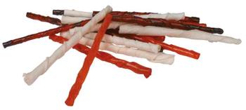 Dog Snack Kauwstaven Gedroogde runderhuid gedraaid, glutenvrijin hersluitbare zak 260 gr., formaat ca 12 cm.