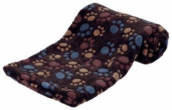 zacht fleece zeer zacht en behaaglijk beschermt bekleding tegen vuil en dierlijke haren kleur donker bruin formaat 75 x 50 cm.