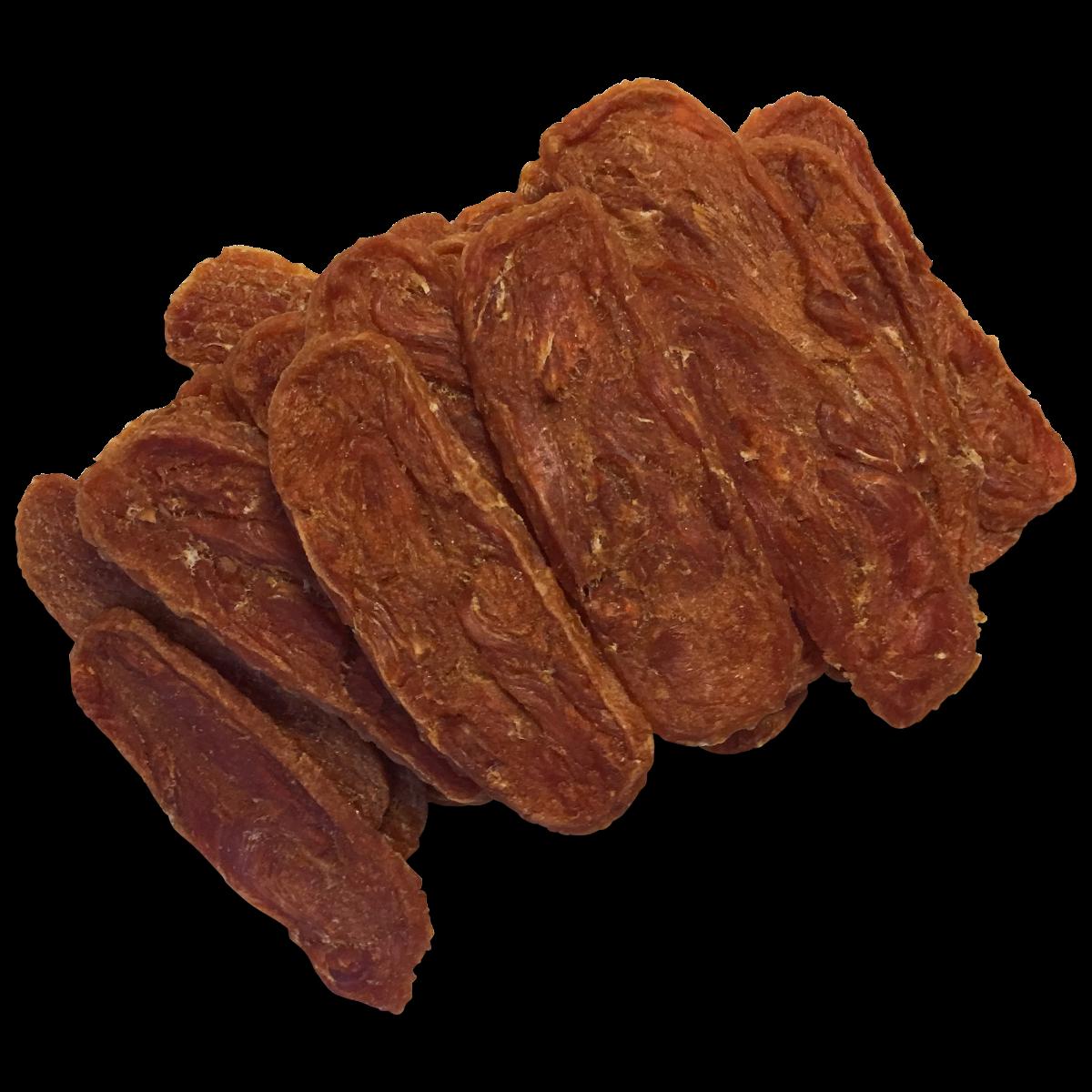 Chicken strips  Kipstrips welkome aanvulling op het dagelijks menu, als hondensnoepje tussendoor, en goed te gebruiken als beloningssnack tijdens de training. Voordeelverpakking 500 gr. 95% kip. Natuurlijk product, geen conserveermiddelen.  Analytische bestanddelen:  Eiwit 54,4% Ruwe celstof 0,2% Vetgehalte 4,8% Ruw as 4,1% Vocht 16,3%