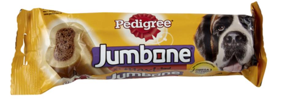 PEDIGREE® JumboneDeze kauwsnack van Pedigree bevat rundvlees, omega 3, vitaminen en mineralen. Dit zorgt er niet alleen voor dat het gebit van de hond voldoende aandacht krijgt, maar ook het afweersysteem, de botten en zijn conditie blijven langer goed. Deze kauwsnack bevat geen kunstmatige kleur- en smaakstoffen. Specifieke eigenschappen  Bevat minder dan 2% vet. Omega 3 helpt je hond in goede conditie te blijven. Calcium helpt de tanden en botten van je hond sterk te houden. Vitaminen en mineralen helpen zijn natuurlijke afweersysteem te versterken. Zie de verpakking voor specifieke ingrediënten.  Voedingsadvies  Middelgrote honden (15-25 kg): 1 stuk per week. Grote honden (zwaarder dan 25kg): tot 2 stuks per week. Niet geschikt voor honden van minder dan 10 kg of puppy's jonger dan 9 maanden. Pas de hoofdmaaltijd overeenkomstig aan. Zorg dat er altijd vers drinkwater beschikbaar is.