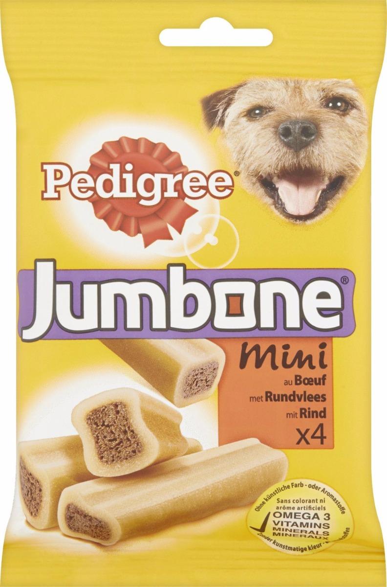 Jumbone Kip met Rijst Mini (4 stuks) PEDIGREE® Jumbone Kip met Rijst Mini is een lekkere snack, die lang zijn smaak behoudt. Perfect voor jouw middelgrote hond! Deze slimme combinatie van een harde buitenkant, waar hij echt zijn tanden in kan zetten, met een heerlijke vleesvulling geeft hem die welverdiende traktatie.   Specifieke eigenschappen  Bevat minder dan 2% vet. Omega 3 helpt je hond in goede conditie te blijven. Calcium helpt de tanden en botten van je hond sterk te houden. Vitaminen en mineralen helpen zijn natuurlijke afweersysteem te versterken. Zie de verpakking voor specifieke ingrediënten.  Voedingsadvies  Middelgrote honden (15-25 kg): 1 stuk per week.? Grote honden (zwaarder dan 25kg): tot 2 stuks per week. Niet geschikt voor honden van minder dan 10 kg of puppy's jonger dan 9 maanden. Pas de hoofdmaaltijd overeenkomstig aan. Zorg dat er altijd vers drinkwater beschikbaar is.