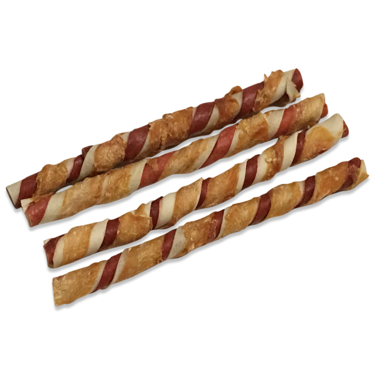 Wrap spcial van Prime Hide 25 cm. Rawhide (gedroogde runderhuid) omwikkeld met varken en kip Een ware delicatesse voor elke hond.Zak 280 gr. / 4 stuks.