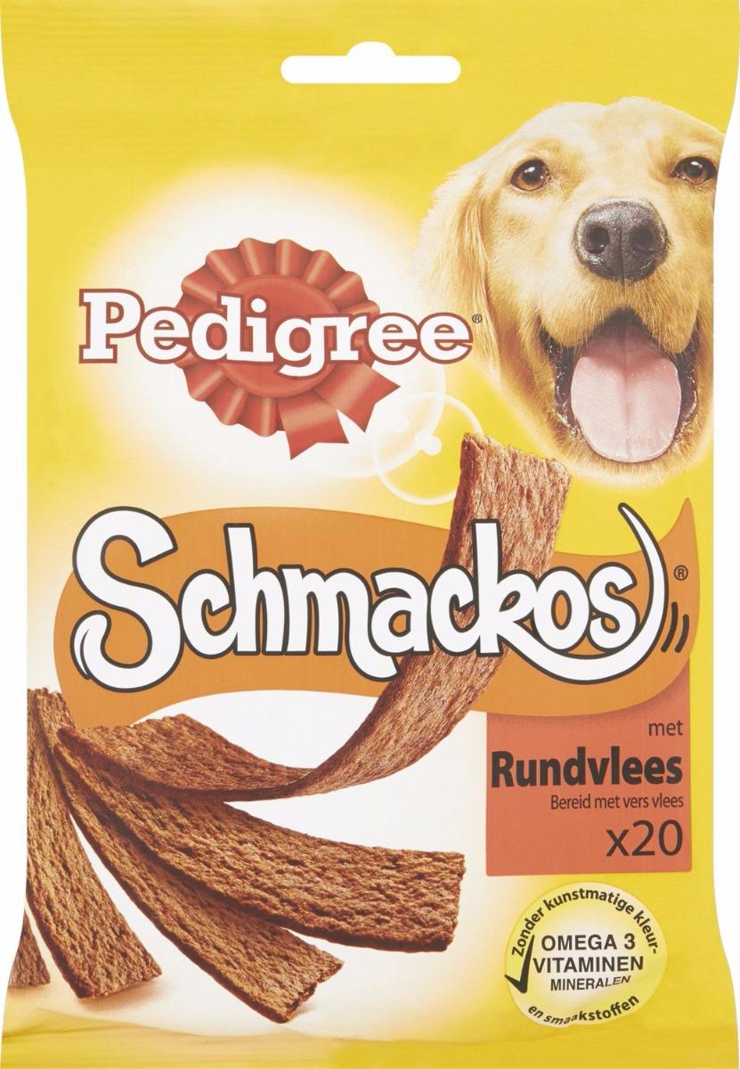 Smackos® Rund zijn originele, heerlijke en voedzame snacks voor je hond. Om je hond te belonen en te verwennen met de dingen waar hij het meest van houdt.   Specifieke eigenschappen  Omega 3helpt hem in goede conditie te blijven.Vitaminenhelpen zijn natuurlijke afweersysteem te versterken.Mineralen, waaronder calcium, helpen zijn botten sterk te houden. Zonder kunstmatige kleur- en smaakstoffen Zie de verpakking voor specifieke ingrediënten.  Voedingsadvies  Kleine honden (type Teckel) tot 1 stuk per dag. Middelgrote honden (type Cocker Spaniel) tot 2 stuks per dag. Grote honden (type Labrador) tot 3 stuks per dag. Pas de hoofdmaaltijd overeenkomstig aan. Zorg dat er altijd vers drinkwater beschikbaar is. Kan op elk moment van de dag als tussendoortje worden gegeven, in volledige strips of in hapklare stukjes.