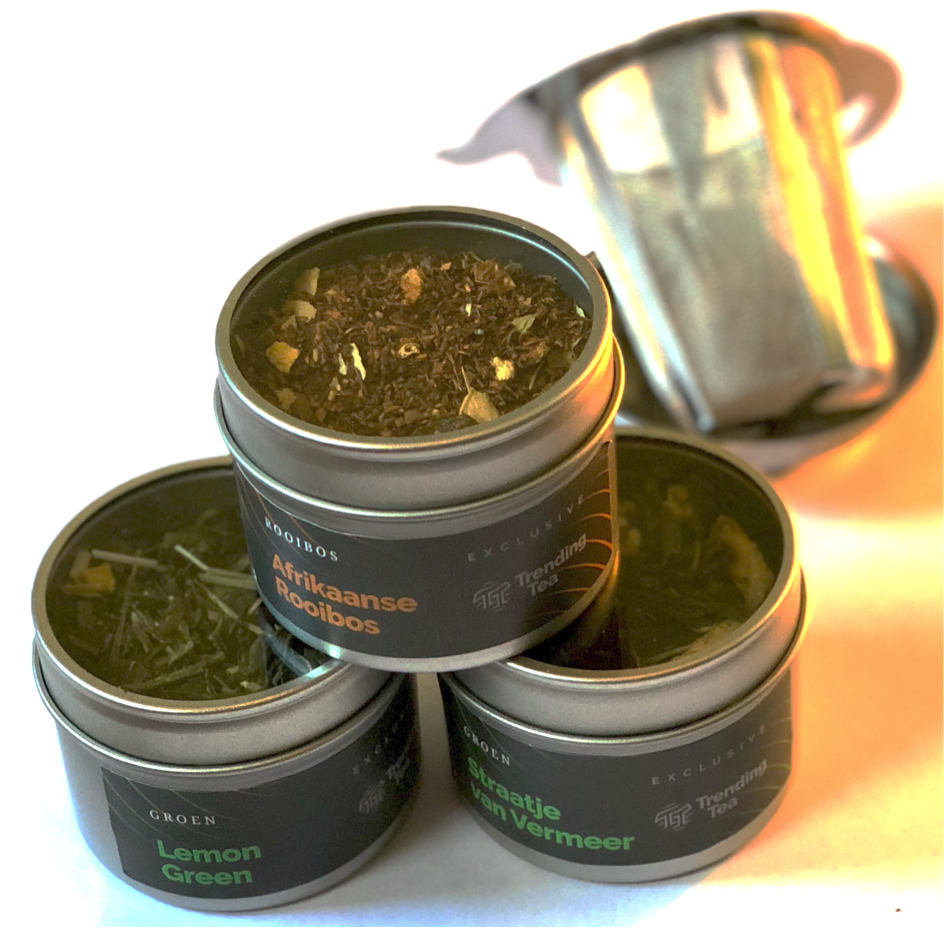 Losse Thee Cadeau | 3 blikken, luxe thee filter en theetip | - 134 - Trending Tea